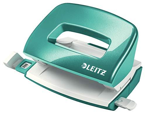 Leitz 50601051 kleiner Locher (10 Blatt, Anschlagschiene mit Formatvorgaben, Metall, WOW) metallic eisblau