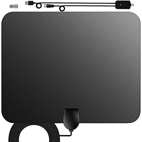 HDTV Antenna,Digital Amplified Indoor TV Antenna,120 Miles Range Amplifier Signal Booster Support 4K 1080P UHF VHF Freeview HDTV Channels,16.4ft Coax Cable