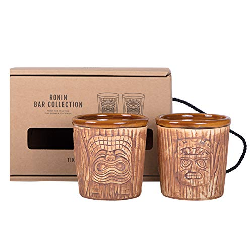 Ronin Bar Collection Cocktail Set Tiki Mai Tai Mugs, Geschenkbox mit 2 Tiki Bechern aus Keramik, Hawaiian Cocktail