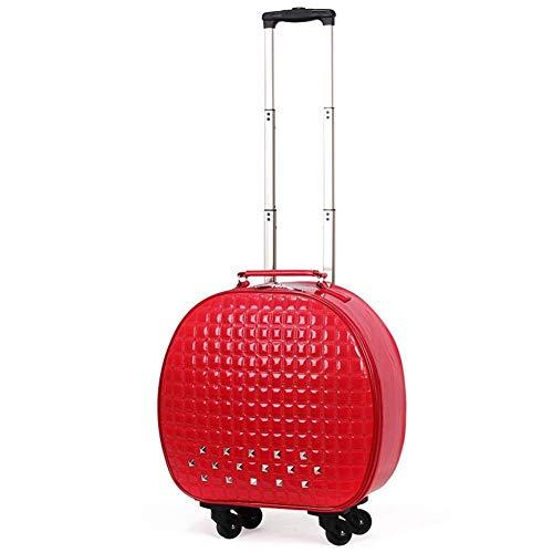 SH-lgx Equipaje de Mano, Cajas de Vara, Ultra-Light PU Estuche de Viaje Maleta con TSA Lock y 4 Ruedas Universal Ideal for Grandes compañías aéreas (Color: Rojo, tamaño: 20 Pulgadas) (Color : Red)