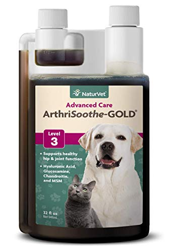 NaturVet ArthriSoothe-GOLD Level 3 Advanced Joint Care for Dogs and Cats, 32 oz Liquid , Made in USA