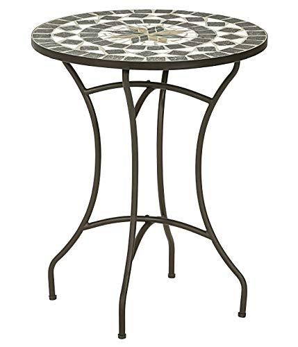 Dehner Diana - Tavolo da Giardino, Ø 60 cm, Altezza 72 cm, Metallo, Effetto Mosaico, Marrone/Grigio/Bianco