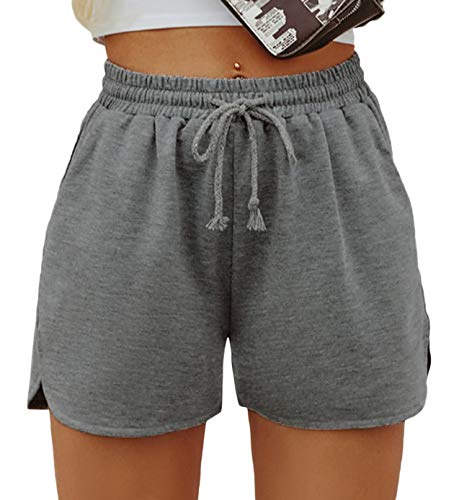 SheIn Women's Solid Stretchy Drawstring Waist Track Shorts Dark Grey Medium