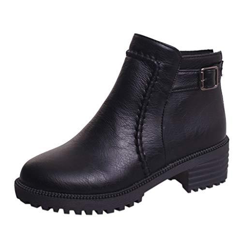 ZODOF Botas Mujer De tacón Alto Botas Individuales Zapatos de Mujer Plataforma Gruesa Botas Botines Estudiante Ankle Boots(39.5 EU,Negro)
