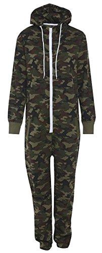 Herren-Jumpsuit, Azteken-Muster, unisex, Einteiler, Camouflage-Print, Reißverschluss, Kapuze, Army Camo, Spielanzug, Fleece-Futter, innen gebürstet Gr. Large, Camouflage, camo , black, grey