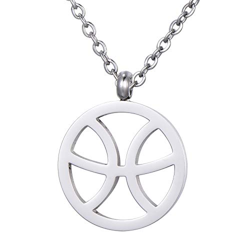 Morella Collar Acero Inoxidable Plata con Colgante Signo del Zodiaco Piscis en Bolsa de Terciopelo