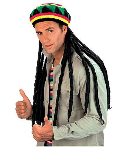 Horror-Shop Reggae Mütze mit Rasta Zöpfen für Fasching & Karneval