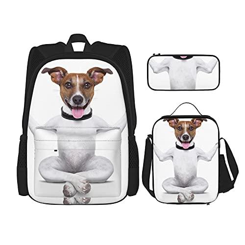 Yoga Hond Print Rugzak Voor Jongens Tieners Boekentas Reizen Dagrugzak, Lunch Bag En Potlood Case Combinatie