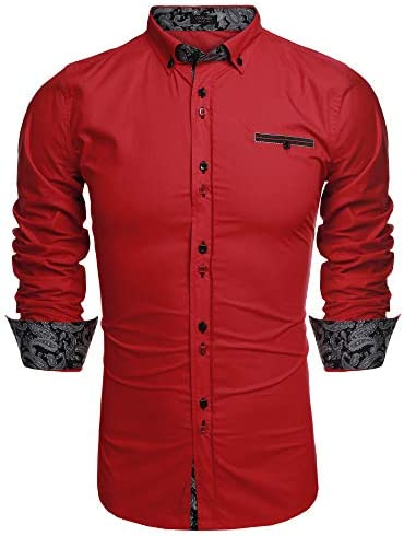 Coofandy Men s Fashion Slim Fit Dress Shirt Casual Shirt 01 red 3X Large product image