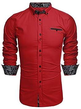 Coofandy Men s Fashion Slim Fit Dress Shirt Casual Shirt 01-red Large