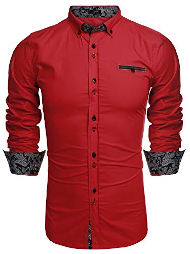 Coofandy Men's Fashion Slim Fit Dress Shirt Casual Shirt, 01-red, Large