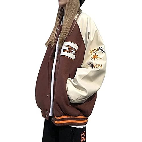 Chaqueta De Bombardero para Mujer Harajuku Y2k Sudadera con Estampado De Letras 90S Retro Pullover Vestido De Pareja,Blanco,XL