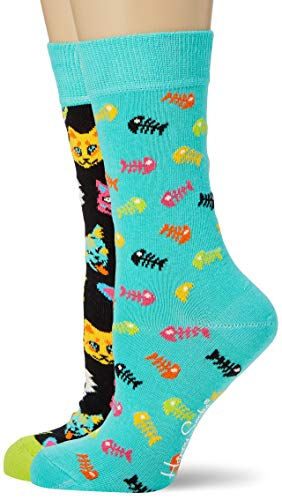 Happy Socks Cat Gift Box Calze, Multicolore (Multicolour 630), 4/7 (Taglia Unica: 36-40) (Pacco da 2) Donna