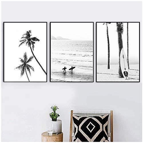 Carteles de paisajes costeros de surf en blanco y negroImpresiones Sea Wave Tabla de surf Fotografía Fotos Lienzo Pintura Decoración para el hogar 20x30 cm / 7.8'x11.8' x3 Sin marco