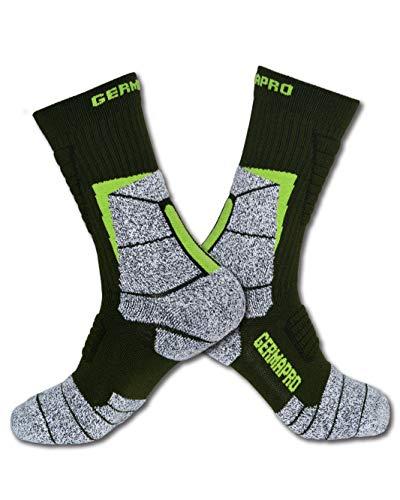 Herren Wandersocken Outdoor Arbeitsstiefel Socken mit Anti-Geruchs-Bläschen, feuchtigkeitsableitend, Germanium & Coolmax für alle Jahreszeiten, 2 Paar - Grün - Medium/Large