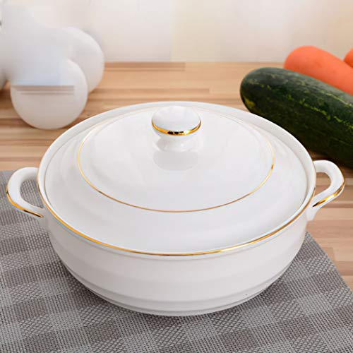 CJTMY Ceramic Soup Pot Nordic Phnom Penh White Round 1.4L Large Bowl with Lid Cooking Utensils Household Kitchen Supplies Tableware (Color : B)