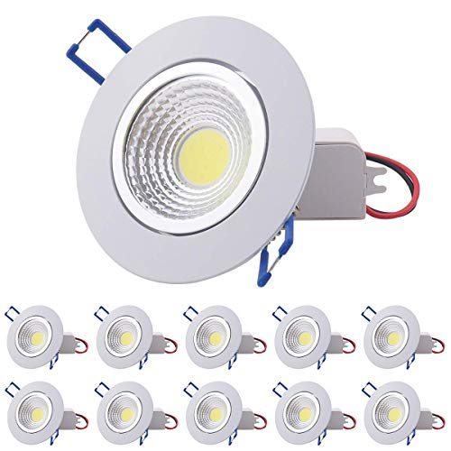 Pocketman 10 Pack COB plafoniera, 7W dimmerabile da incasso a LED, incasso 2900-3100K 220V Kit faretti con LED Driver 60 gradi, bianco caldo