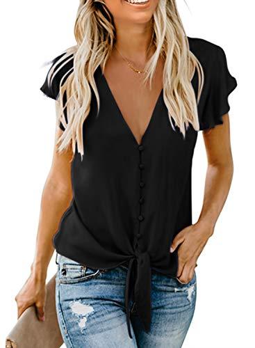 Aleumdr Damen Bluse Kurzarm Hemd V-Ausschnitt Bluse Leinen Tunika mit Konpfen Elegant Krawatte Business Casual Bluse Oberteile Hemd Schwarz XL