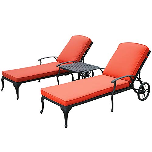 HOMEEFUN Chaise Lounge Outdoor Chair with Red Cushions, Aluminum Pool Side Sun Lounges with Wheels Adjustable Reclining, Patio Furniture Set, Pack of 2(Antique Bronze)