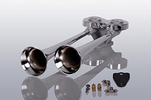 Marco LKW Druckluft Doppelhorn 38cm und 42cm lang (Trichter aus hochglanzverchromten Messing) + Magnetventil 12 Volt inklusive Anschlussmaterial~