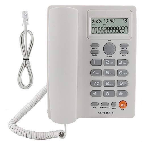 SHYEKYO Teléfono de Oficina, identificador de Llamadas, Llamadas Manos Libres, teléfono con Cable de marcación rápida, con función de Pausa/retención + función de Silencio, 2 Colores(Blanco)