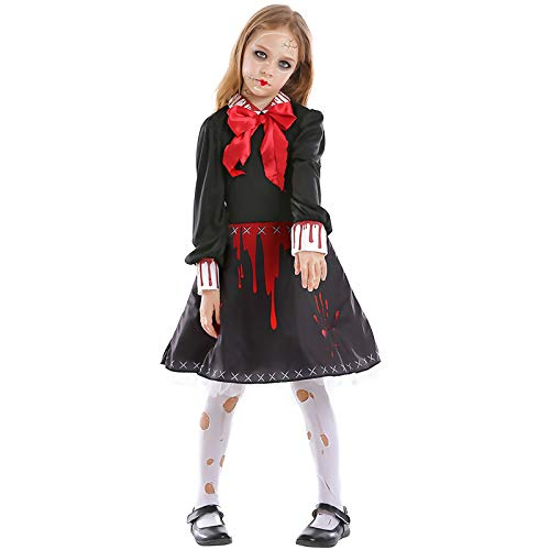 wtnhz Cosplay Neuheit Geschenk Halloween Weihnachten verfluchte Puppe Eltern-Kind Horror Keramikpuppe Kinder Print Kleid Blut Kleid