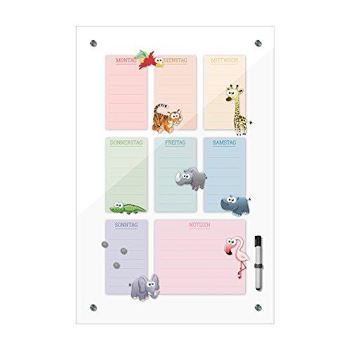 Memoboard 40 x 60 cm, Wochenplaner für Kinder - Tiere hk - Pinnwand - Mädchen & Jungen, Dekoration, Kinderzimmer, Cartoon, Kinderbild, Kindermotiv, Hochformat, Tierbild