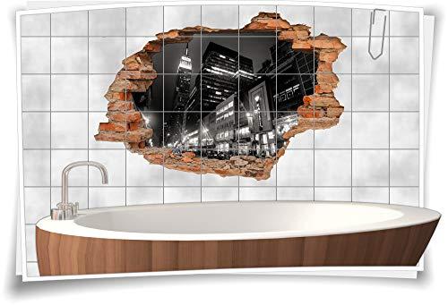 Fliesen-Bild Wand-Durchbruch 3D Fliesen-Aufkleber Metropole Stadt-Lichter Geschäfte Schwarz-Weiß, 75x50cm, 20x25cm (BxH)