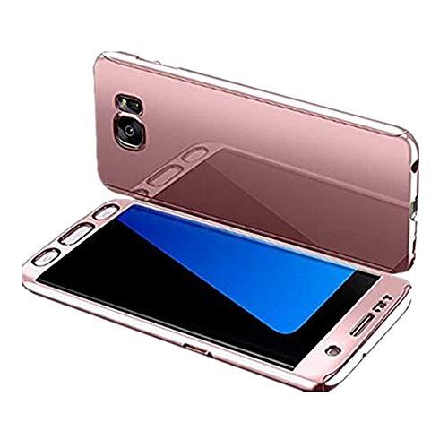 Funda compatible con Samsung Galaxy S7 Edge, carcasa ultrafina, 3 en 1, 360 grados, antiarañazos, antichoque, carcasa de plástico ultraligera Oro Rosa Talla única