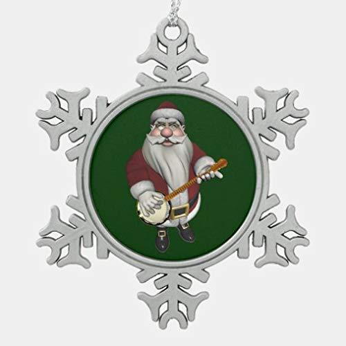 onepicebest Christmas Metal Snowflake Ornaments 2020, Santa Claus Playing Banjo Snowflake Pewter Christmas Ornament, Decorating Hanging Ornaments Christmas Party Decor Xmas Gift