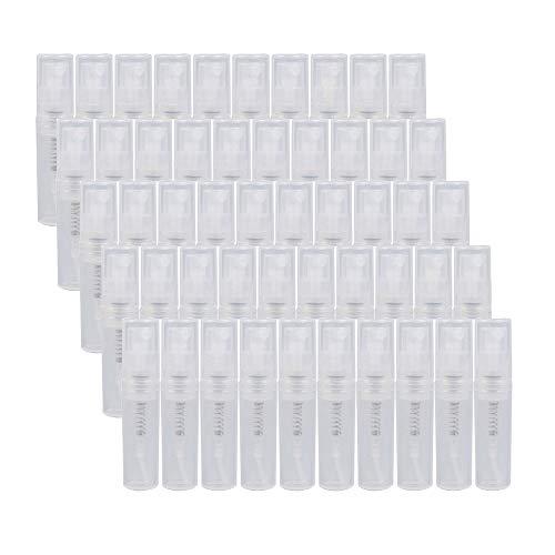 XIAONAN 5ML 50 Stück Mini Parfüm Spray Leere Flasche Reise Tragbare Tasche Parfüm Flasche Parfüm Stift Kunststoff leere Probe Flasche Kunststoff Sprühflasche, klar, nachfüllbar, für Reisen etc,