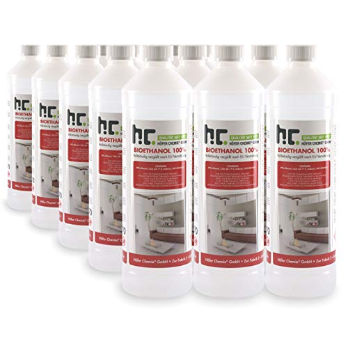 Höfer Chemie 15 x 1 L Bioéthanol 100 % de haute pureté pour cheminée à éthanol, godets à éthanol, feu de table et braséros au bioéthanol