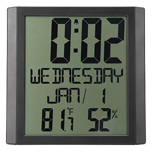 Jeanoko Reloj de Pared electrónico Medidor de Humedad y Temperatura TS-8608 Higrómetro Marco de protección ABS humanizado Multifuncional para Oficina en casa