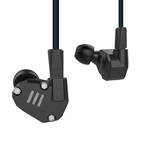 KZ Earphones Yinyoo kz ZS6 - Auriculares in-ear de alta fidelidad 2 dinámicos + 2 auriculares de equilibrio con cable de repuesto de 2 pines Negro sin micrófono