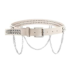 HZMAN Women Faux Leather Square Metal Spike Studded Fashion Belt Waist with Punk Metal Chain