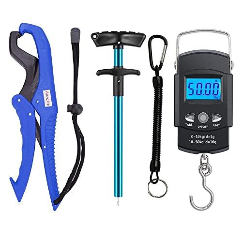 GRANDBUY Handheld Digital Fish Scale 99lb/45kg with Built-in Tape Measure 39Feet Floating Fish...