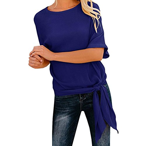 Fashion Womens Solid Casual O-Neck Basic Knot Tie Front Loose Fit Half Sleeve Slim Tee Top T-Shirt Daily Blouse (L, Dark Blue)