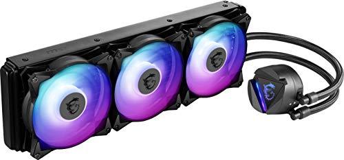 MSI MAG Core Liquid 360R CPU-Kühler mit 360mm ARGB Kühler, 3 x 120mm PWM Lüfter, Intel/AMD kompatibel, bis zu 70.000 Betriebsstunden, rotierendes Logo, Mystic Light, Schwarz