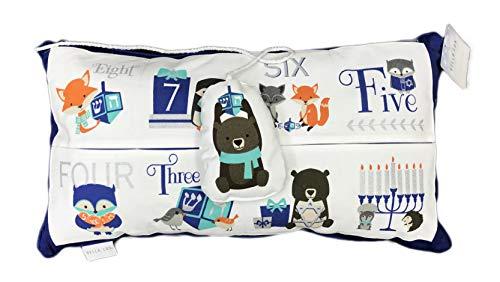 Bella Lux Children's Happy Hanukkah 8 Days of Chanukah Woodland Creatures Decorative Holiday Throw Pillow