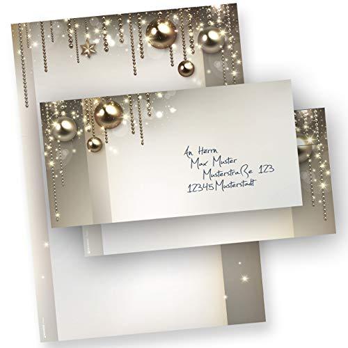 PREMIUM Briefpapier für Weihnachten Set NOBLESSE (25 Sets ohne Fenster) elegantes Design-Weihnachtsbriefpapier DIN A4 - mit Umschlägen ohne Fenster