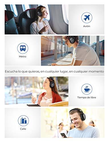 Mpow [Nuevo] H16 Auriculares con Cancelación de Ruido, 30 Horas de Juego, Carga Rápida, Cascos con Cancelación de Ruido con Micrófono CVC 6.0, Hi-Fi Sonido, Auriculares Diadema Bluetooth para PC-Blue