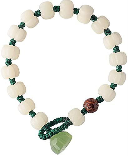 Luck Bracelet,Feng Shui Wealth Jade Pulsera para Mujer White Jade Bodhi Tallado Pumpkin Beads Jade Lotus Rosewood Lotus Bead Tejido Pulsera Tallada A Mano Mantra Bead Talismán Atrae Dinero Buena