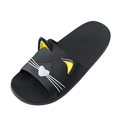 SANFASHION Herren & Damen Zuhause Hausschuhe Cartoon Katze Boden Familie Schuhe Strand Sandalen Dusch- und Badeschuhe