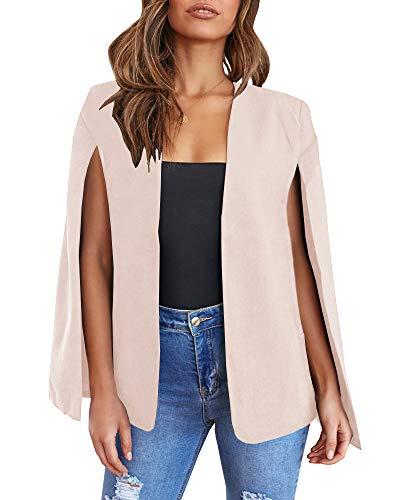 Ybenlover Cape Blazer voor dames, split mouwen, open voorkant, solide jas, werkkleding met zakken, beige, M