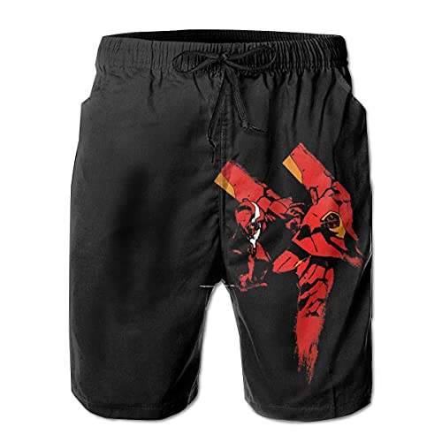 Anganganiel Calzoncini Pantaloni da Spiaggia Unisex Neon Genesis Evangelion Unit 01 Costume da Bagno Estivo da Spiaggia in Poliestere, Pantaloncini Sportivi ad Asciugatura Rapida per Il Tempo Libero