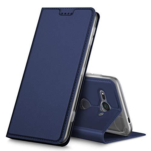 Verco Handyhülle für Xperia XZ2 Compact, Premium Handy Flip Cover für Sony Xperia XZ2 Compact Hülle [integr. Magnet] Book Hülle PU Leder Tasche, Blau