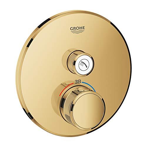 Grohe 29118GL0 Thermostat Grohtherm SmartControl avec valve de fermeture, rosace murale ronde, couleur : Amanecer frais