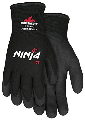 Memphis Glove Ninja Ice 15 Gauge Black Nylon (4 Kit) Ninja Ice Cold Weather Glove, Acrylic Terry Inner, HPT Palm and Fingertips, Large