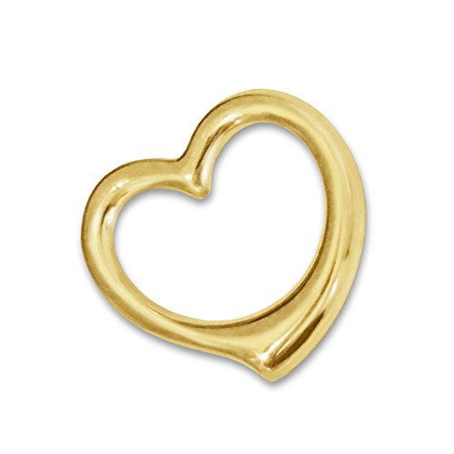 CLEVER SCHMUCK Goldener Damen Anhänger frei schwingendes kleines Mini Herz 12 mm glänzend innen offen, beidseitig plastische Form 333 Gold 8 Karat