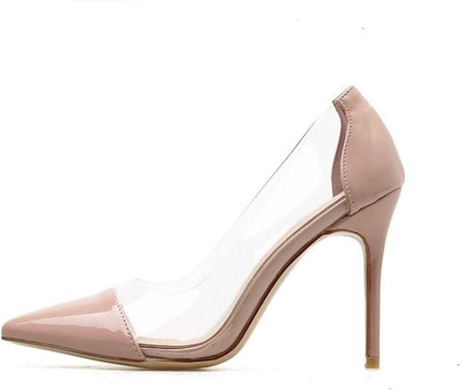 JQfashion Women's High-Heeled shoes Spring and Summer Tip Fine-Heeled High-Heeled Sandals Sexy Transparent and Fresh